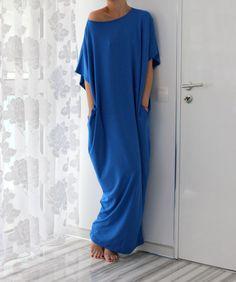 Blue oversized dress Maxi Dress Caftan by cherryblossomsdress