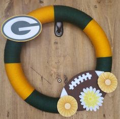 Football Yarn Wreath, Green Bay Packers, Oregon Ducks, Green and Yellow by…