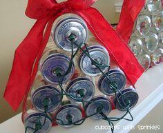 DIY Lighted Christmas Tree using Baby Food Jars or Mason Jars Lighted Baby Food Jar Christmas Tree Ornament Crafts With Glass Jars, Mason Jar Crafts, Bottle Crafts, Mason Jars, Baby Jars, Baby Food Jars, Food Baby, Baby Foods, Christmas Jars