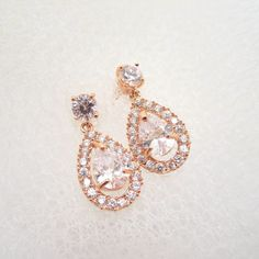 Rose gold bridal earrings wedding jewelry bridal by treasures570, $35.00