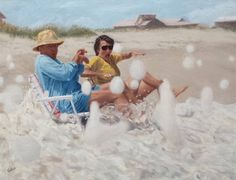My Parents Relaxing at the Beach by Gayle Madeira from AWA's 2017 spring online juried show. #womenartists #springonlineshow17