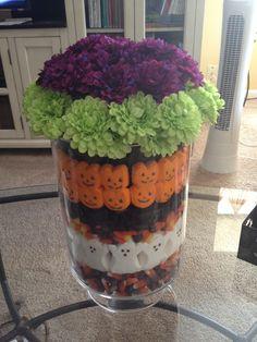 Halloween centerpiece, #peeps #candycorn #purple #green #articfialflowers