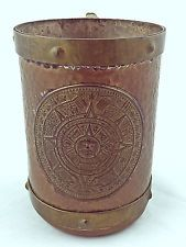 Vintage Mexican Coffee Cup Mug Mayan Aztec Calendar Design Copper Brass Rare HTF Aztec Calendar, Copper, Brass, Calendar Design, Mead, Coffee Cups, Mexican, China, Dishes