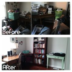 Yesterday my client and I turned their cluttered office into a functional neat workspace! #professionalorganizer #clearclutter #getfocused