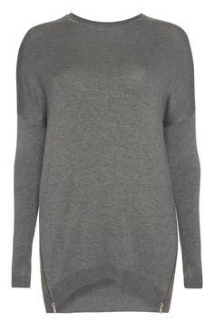 PRIMARK £12 Grey Zip Hem Jumper