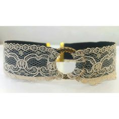 Victorian choker with nude lace and bronze karma circle