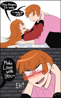 """Brooke (aka Brick's Genderbend) is ready to make love with her boyfriend. Apparently, Blayson (""""Bley-Son"""" aka Blossom's Genderbend) is still a virgin and doesn't know how to make the first move. Powerpuff Girls Cartoon, Cartoon As Anime, Cartoon Art, Super Nana, Ppg And Rrb, Cute Comics, Power Girl, Cartoon Drawings, Anime Couples"""
