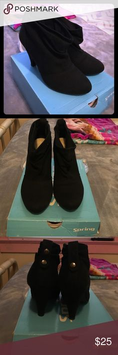 Black ankle booties Only damage to these is a missing button on the back that still in the shoes box and can be fixed. Spring Shoes Ankle Boots & Booties