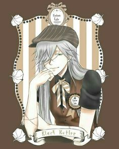 """""""Welcome~ To the Futum Cafe~"""" he greeted leaning against the counter. Brushing his grey hair aside he grinned at you. """"I'll gladly take your order love~"""" ... I'm starting to take suggestions from you all~ See how this goes. A certain miss here suggested """"open roleplays"""" so why not? #undertaker #adriancrevan #blackbutlerundertaker #grimreaper #deathgod #shinigami #legendary #mortician #kuroshitsuji #blackbutler"""