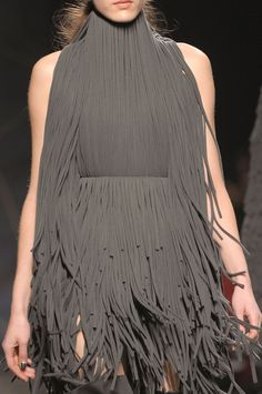 Taupe grey fringe dress; runway fashion details // Gareth Pugh Fall 2012