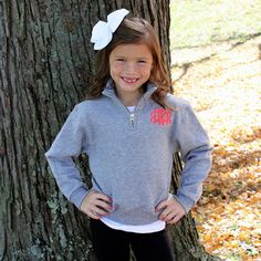 Childrens Quarter Zip Monogram Pullover — Simply Embroidered