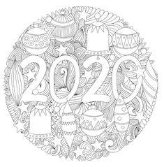 Kleurplaat 2020  Dank je wél, juf Maike! New Year Coloring Pages, Christmas Coloring Pages, Colouring Pages, Coloring Sheets, Adult Coloring, Coloring Books, Diy Christmas Garland, Christmas Colors, Nouvel An