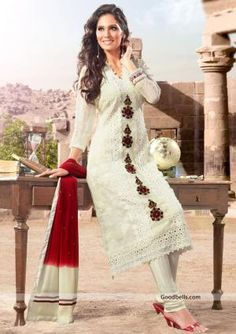 Enhance your beauty with this off white salwar kameez designed with attractive floral embroidery. Fancy lace work and appliqué patch gives it heavy look. Perfect selection for any special occasion. http://goodbells.com/salwar-suits/beautiful-off-white-shade-salwar-kameez.html