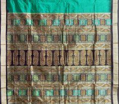 Dark Emerald Green Bomkai Orissa Silk Saree with All-Over Boota with Border and Gorgeous Pallu - Alternative view 2
