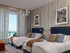 Located in Bal Harbour, Florida and designed by Deborah Wecselman Design. This elegant apartment has sophisticated design and beautiful seaview Classic Bedroom Decor, Home Bedroom Design, Cute Bedroom Decor, Design Your Dream House, Bedroom Layouts, Suites, Guest Bedrooms, Floor Design, Luxurious Bedrooms