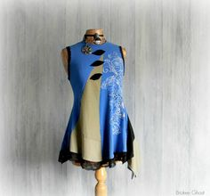 Funky Women's Tunic Blue Boho Shirt by BrokenGhostClothing on Etsy