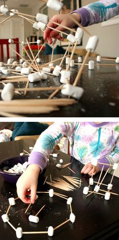 Fun activity for kids : toothpicks + marshmallows. Build stuff and the best part is eating your creations!