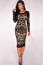 Hayley lace trim long sleeve bodycon midi dress