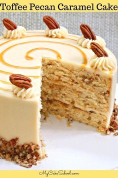 This Toffee Pecan Caramel Cake Recipe is the BEST! Such a wonderful combination of toffee, caramel, and pecans, and frosted in a luscious Caramel Cream Cheese Frosting! Toffee Pecan Caramel Cake with Caramel Cream Cheese Frosting Easy Cheesecake Recipes, Best Cake Recipes, Easy Cookie Recipes, Baking Recipes, Dessert Recipes, Delicious Cake Recipes, Healthy Desserts, Layer Cake Recipes, Cheesecake Cake