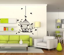 Hanging Bird Cage Wall Decal