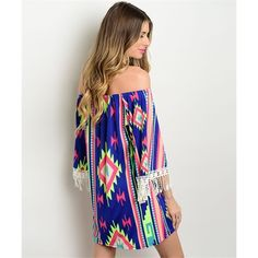 Blue Aztec Tribal Off Shoulder Tunic Dress Medium So gorgeous!!  Beautiful for Spring!!  Blue Aztec tribal off shoulder tunic dress, crochet fringe on sleeves, Size Medium.  95% Polyester 5% Spandex.  No Trades, Price Firm unless Bundled.  BUNDLE 3 OR MORE ITEMS FOR 15 % OFF Boutique Dresses Mini