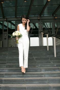city hall wedding jumpsuit style