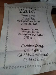 Eadai Childcare Activities, Language Activities, Irish Memes, Gaelic Words, Irish Language, 5th Class, Irish Roots, Language Lessons, Luck Of The Irish