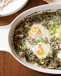 Mexican Eggs in Purgatory (Food & Wine). For the Italian breakfast dish Eggs in Purgatory, eggs are baked in a spicy tomato sauce. In this Mexican-inspired take, Grace Parisi substitutes a vibrant, fresh green sauce made with tomatillos, cilantro and scallions. Maybe something different for Christmas morning ??