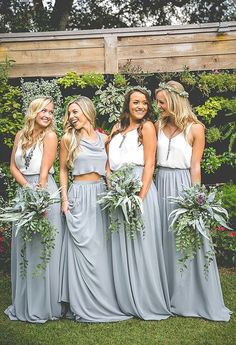 Bridesmaid dresses. Go with a best suited bridesmaid dress for your wedding. You must take into account the dresses which will flatter your bridesmaids, simultaneously, match your wedding ceremony style.