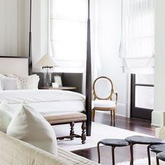 One of those perfect bedrooms with the perfect bed the perfect color palette set in the perfect space with just the right height and architectural elements! LOVING THIS!