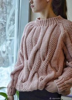 Cable Knit Jumper, Hand Knitted Sweaters, Knit Fashion, Sweater Fashion, Chunky Knitwear, Casual Tops For Women, Hand Knitting, Knitting Patterns, Knit Crochet