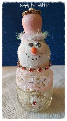 """Snowman Assemblage, Vintage Salt Shaker Snowman """"Rosie"""", Glass shaker, Snowman decoration, Christmas Collectible, Snow Lady, Original by SimplyTheGlitter on Etsy"""