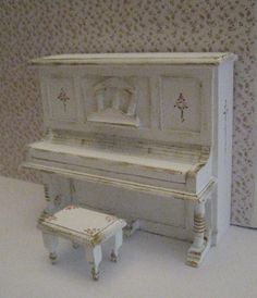 piano and stool, shabby chic white, dollhouse miniature, twelfth scale,