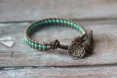 Brown Leather Beaded Bracelet with Metallic by TheLazyGiraffeNY, $15.00