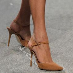 Shoespie Camel Pointed Toe Line Style Stiletto Heels
