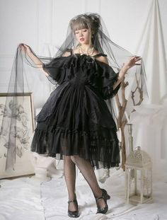 Preorder Deadline Reminder: 【-The Whisper of Sylph-】 Lolita OP Dress Will Be Closed Tomorrow (July Quirky Fashion, Asian Fashion, Look Fashion, Cute Fashion, Frilly Dresses, Cute Dresses, Beautiful Dresses, Gothic Lolita Fashion, Lolita Style