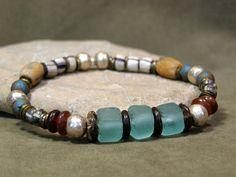 Southwest Tribal Bracelet - Mens Bracelet - Womens Bracelet - African Bead Bracelet - Native Aztec Jewelry Design on Etsy, $49.00