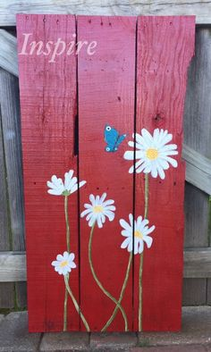 Hand Painted Pallet Wood Sign. Painted Daisies. Painted Butterfly. Flowers. Would y'all just look at this big beauty! This lovely is just about to meet its owner in a few hours and I can not wait! If anyone would like to order a custom sign or one like this feel free to comment or message me! These are $40.00 Each!