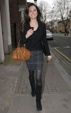 Love the plaid skirt and boots look!