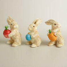 Natural Fiber Radish, Carrot and Egg Bunnies, Set of 3