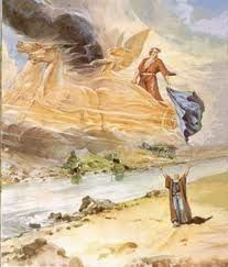 Here is how the Hebrew Bible recounts the final moments of the friendship between the old prophet Elijah and his younger protege, Elisha. And it came to pass, when they were gone over, that Elijah said unto Elisha, Ask what. Free Bible Images, Bible Pictures, Jesus Pictures, La Sainte Bible, Chariots Of Fire, Spiritual Paintings, Bible Illustrations, Jesus Art, Prophetic Art