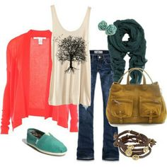 love the graphic tee with the delicate sweater. not crazy about the bag color