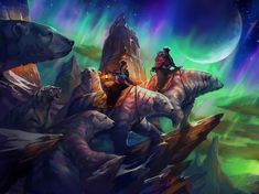 """Southern Lights"" by Julie Dillon. Grandmother, daughter, and granddaughter follow the path of the aurora australis, hitching a ride with migrating southern striped polar bears. :)"