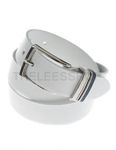 (JPB058-WHITE) Mens Casual Square Classic Metal Buckle Leather Belt From W26 to W36