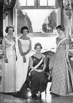 Princess Benedikte, Princess Anne-Marie, Queen Ingrid and Princess Margrethe of Denmark.