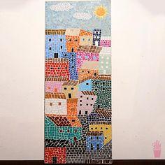 Painel vilarejo em mosaico