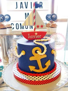 Blog Leo Birthday, Baby Boy Birthday, Boy Birthday Parties, Birthday Celebration, Nautical Birthday Cakes, Nautical Cake, Nautical Party, Baby Shower Cakes, Baby Boy Shower