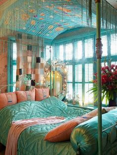 bohemian bedroom ideas canopy bed turquoise bedding decorative pillows