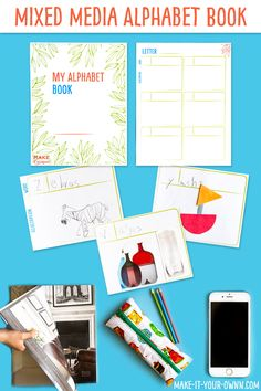 Alphabet Booklet:  Make this booklet to allow children to become familiar with the starting sounds of various words.  We show you 4 options: 1) Add illustrations 2) Cut out corresponding images from magazines. 3) Cut out images from construction paper 4) Take photos of items, print them and add them to your book!  #alphabet #alphabetbook #alphabetprintable #visualdictionary #preschool #playschool #kindergarten #letters #letterbooklet #letterbook  #literacy #alphabetactivity #alphabetprintable Preschool Age, Preschool Letters, Alphabet Activities, Craft Activities For Kids, Hands On Activities, Preschool Crafts, Toddler Activities, Kid Crafts, Alphabet Print