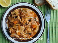 Λάχανο με χοιρινό Greek Recipes, Thai Red Curry, Food And Drink, Pork, Beef, Meals, Dishes, Ethnic Recipes, Birds